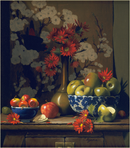 Apples in Blue Bowls