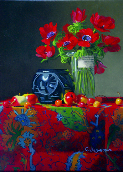 Blackware with Anemones and Fruit